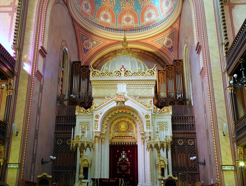 Synagogue interior. Interior of Budapest Great Synagogue, showing decorations at the front royalty free stock photo