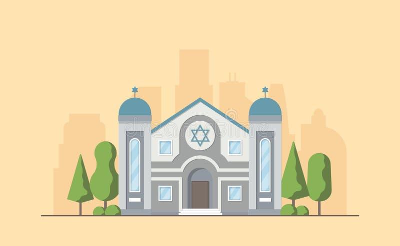 Synagogue. Jewish traditional religion building. Judaism worship place. Vector illustration royalty free illustration