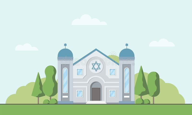 Synagogue. Jewish traditional religion building. Judaism worship place. Vector illustration vector illustration