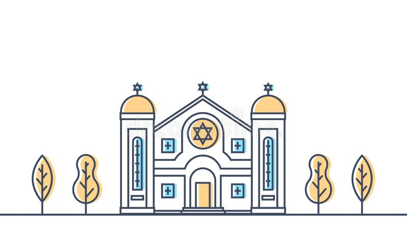 Synagogue. Jewish traditional religion building. Judaism worship place. stock illustration