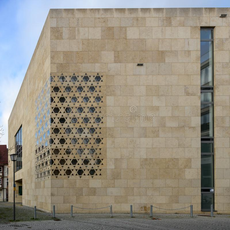 Synagogue Ulm with windows in shape of Jewish badge, Baden-Wuerttemberg, South Germany stock photography