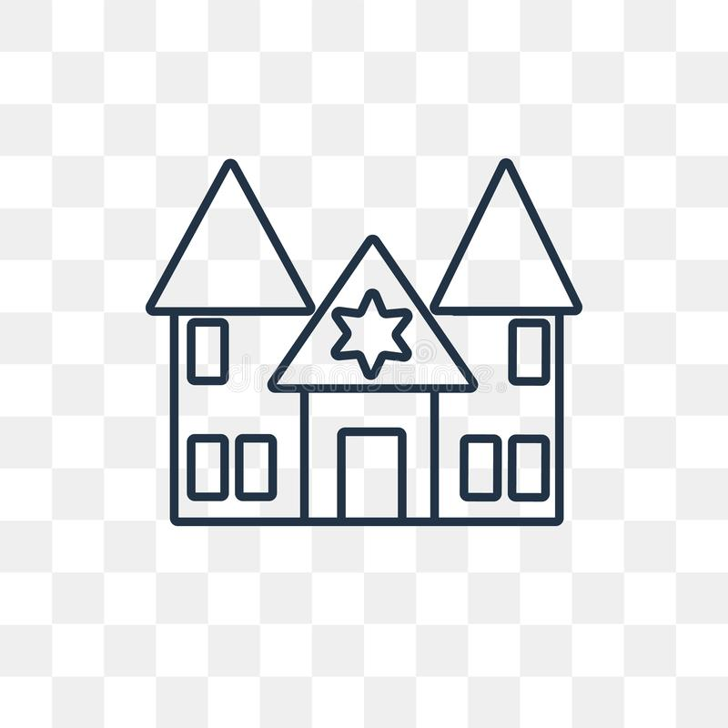 Synagogue vector icon isolated on transparent background, linear royalty free illustration