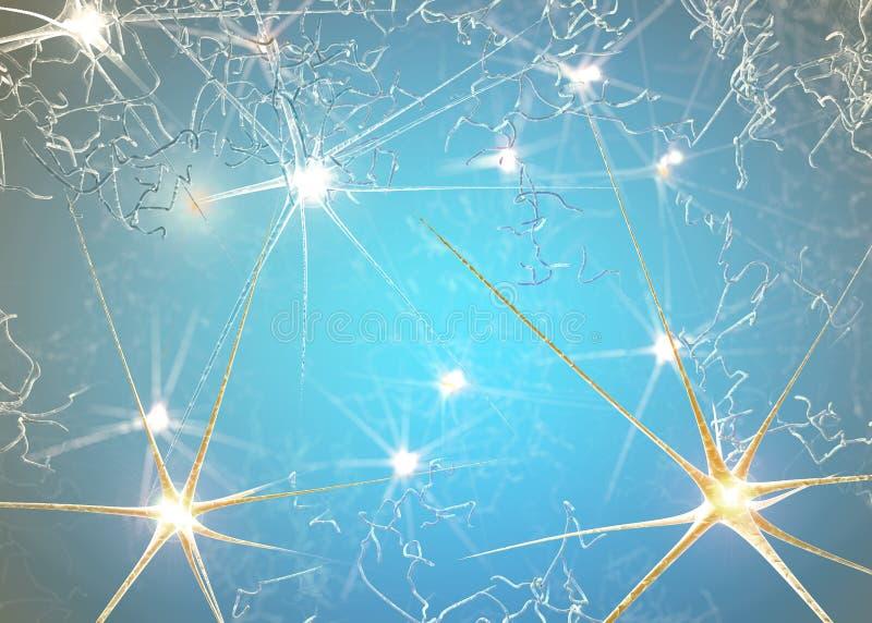 Synapse är en struktur som tillåter en neuron- eller nervcell att passera en elektrisk eller kemisk signal till en annan neuron stock illustrationer