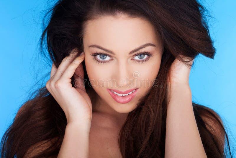 synat topless för skönhet blue royaltyfria foton