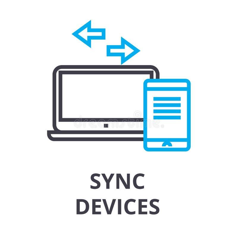 Sync设备变薄线象,标志,标志, illustation,线性概念,传染媒介 库存例证