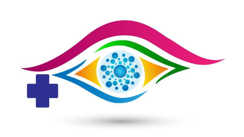Syncentral medicinsk ögonomsorglogo, ögonsjukhuslogo för medicinskt begrepp på vit bakgrund royaltyfri illustrationer