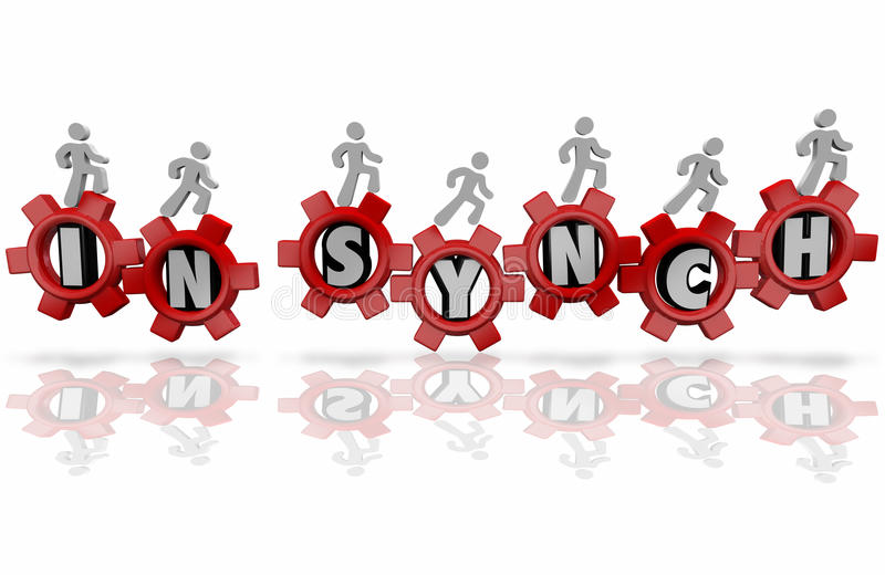 In Synch Workers Team Organization Common Shared Mission Goal royalty free illustration