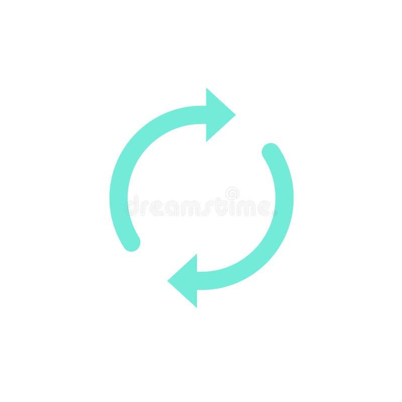 Synchronisatie of updatepictogram vector, ronde die pijlen zoals synchroniseren of omwentelingssymbool, synchronisatiepictogram o royalty-vrije illustratie