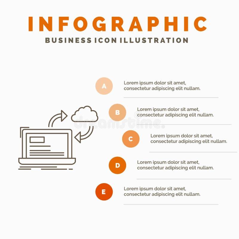 synchronisatie, verwerking, gegevens, dashboard, het Malplaatje van pijleninfographics voor Website en Presentatie Lijn Grijs pic vector illustratie