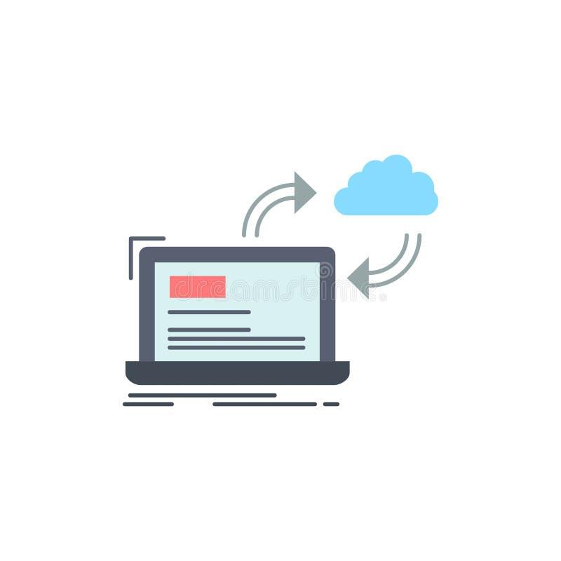 synchronisatie, verwerking, gegevens, dashboard, het Pictogramvector van de pijlen Vlakke Kleur vector illustratie