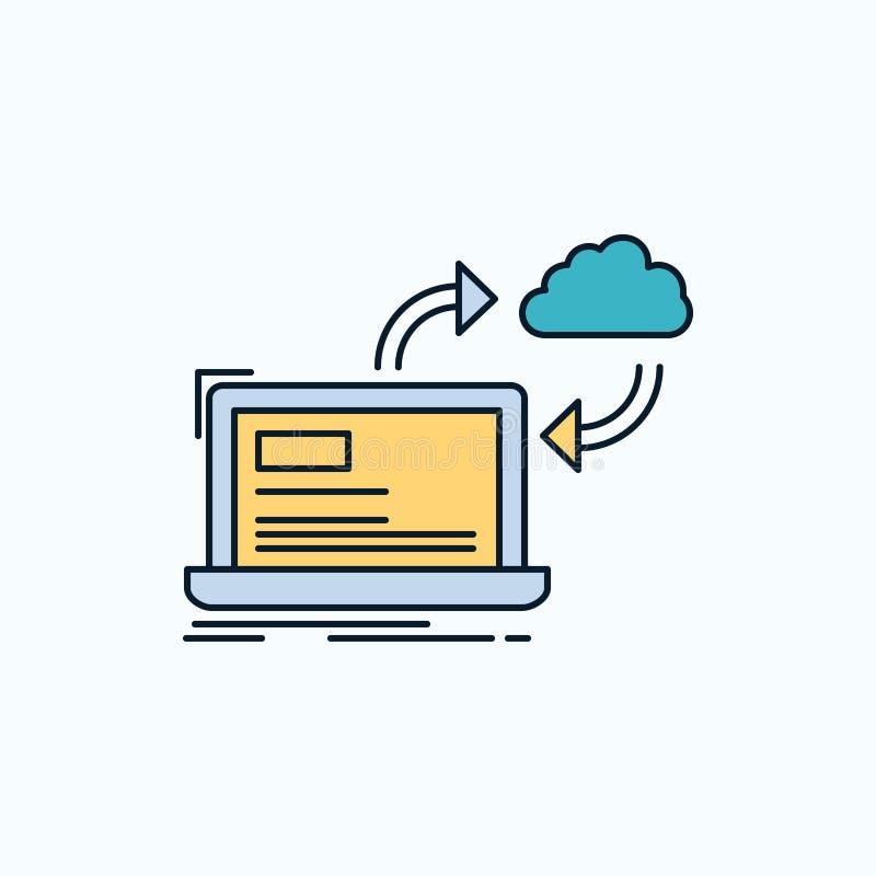 synchronisatie, verwerking, gegevens, dashboard, pijlen Vlak Pictogram groene en Gele teken en symbolen voor website en Mobiele a stock illustratie