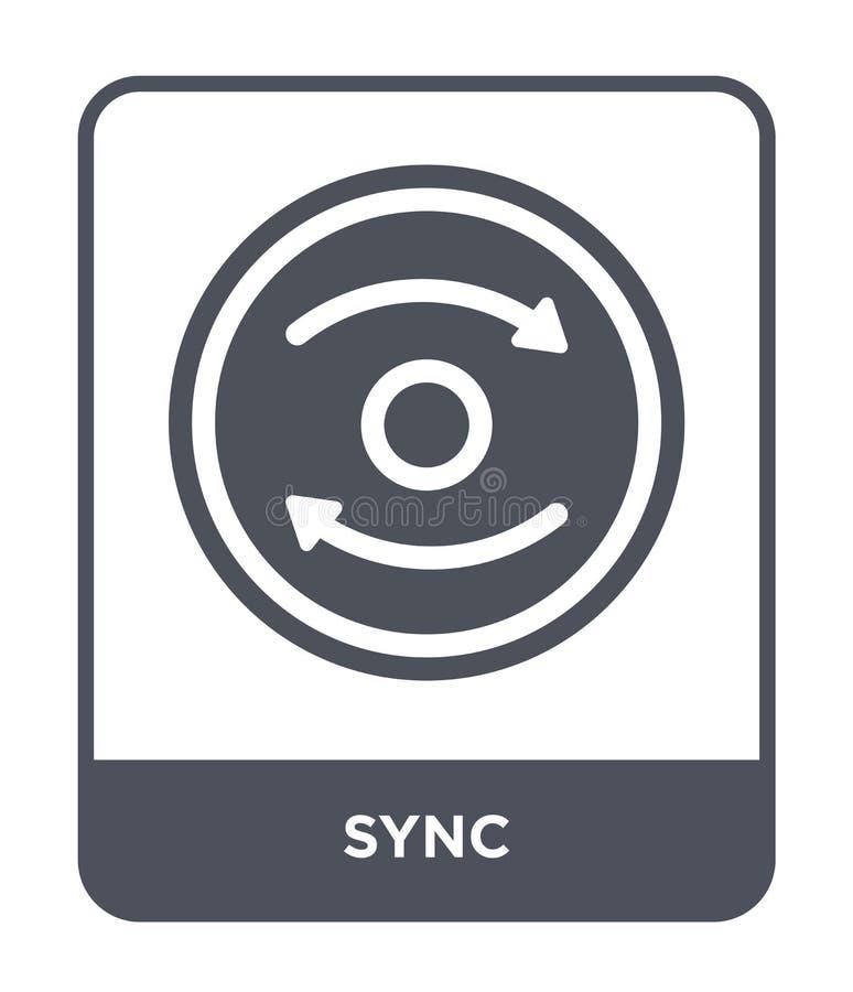 synchronisatiepictogram in in ontwerpstijl synchronisatiepictogram op witte achtergrond wordt geïsoleerd die eenvoudige en modern royalty-vrije illustratie