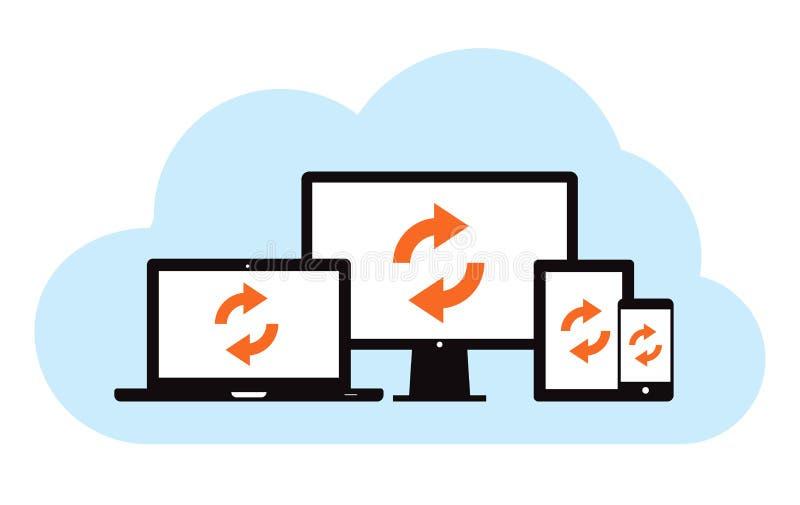 Synchronisation de support de nuage illustration libre de droits