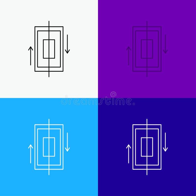 synchronisation, synchronisation, données, téléphone, icône de smartphone au-dessus de divers fond Ligne conception de style, con illustration libre de droits