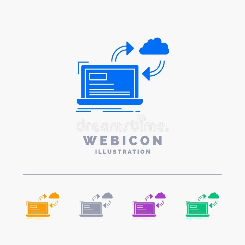 synchronisation, traitant, données, tableau de bord, calibre d'icône de Web de Glyph de couleur des flèches 5 d'isolement sur le  illustration de vecteur