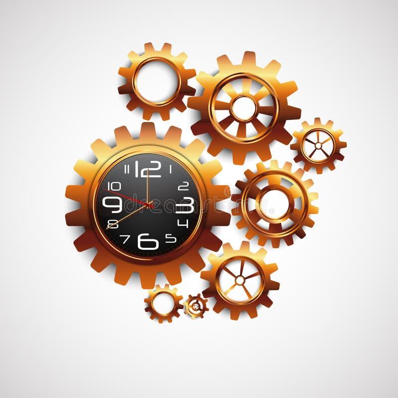 Synchronisez dans la forme de la vitesse et colorez d'or sur le fond blanc illustration stock
