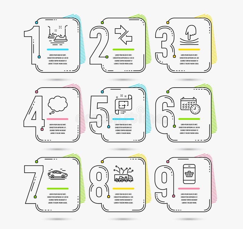 Synchronisez, message comique et icônes de voitures de butoir Plan architectural, signes d'élastique et de calendrier Vecteur illustration libre de droits