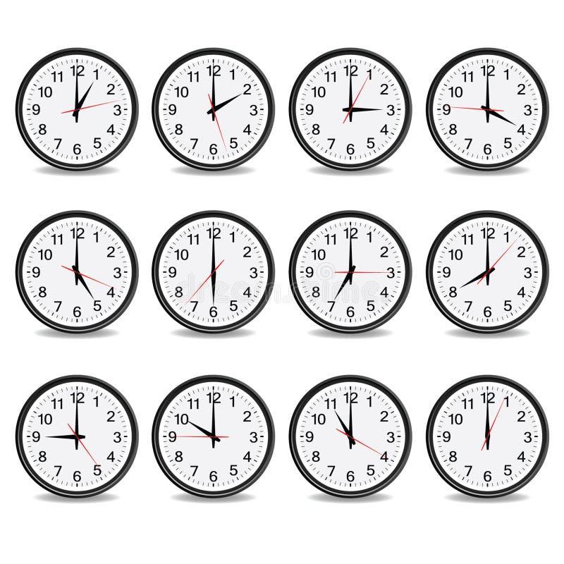 Synchronisez qui montrent chaque vecteur d'heure illustration de vecteur