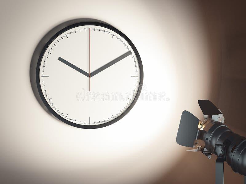 Synchronisez sur le mur et le projecteur brun clair, le rendu 3d illustration stock