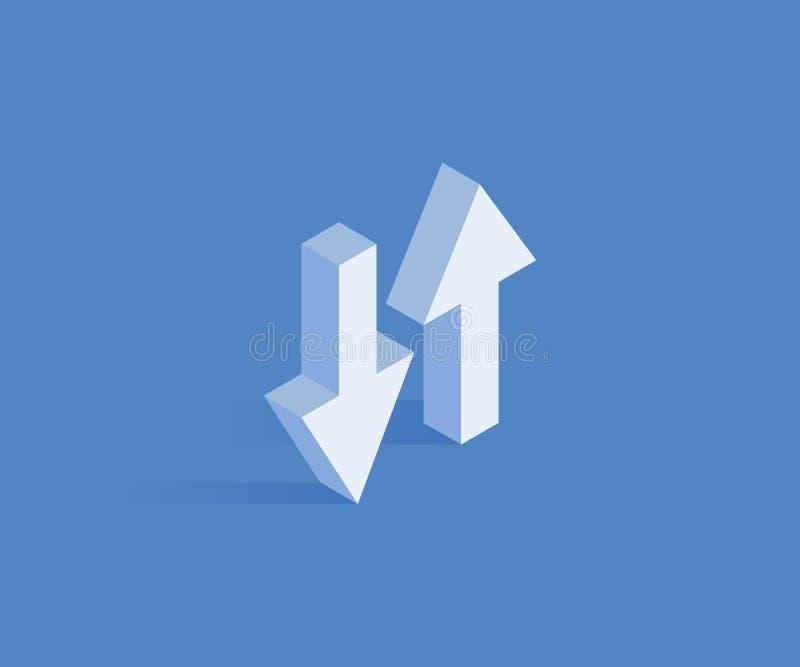 Synchronisieren der isometrischen Ikone der Daten Vector Illustration für Webdesign in der flachen isometrischen Art 3D vektor abbildung