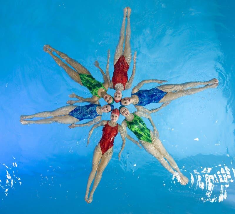 Synchronisierte Schwimmer lizenzfreies stockbild