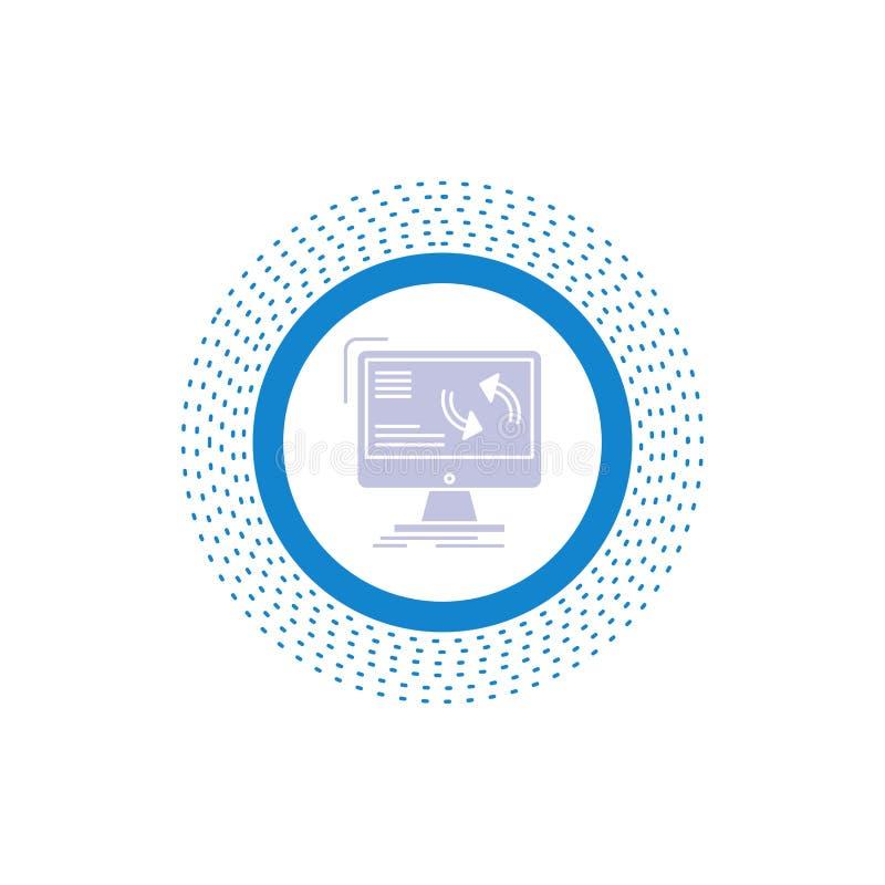 Synchronisierung, Synchronisierung, Informationen, Daten, Computer Glyph-Ikone Vektor lokalisierte Illustration lizenzfreie abbildung