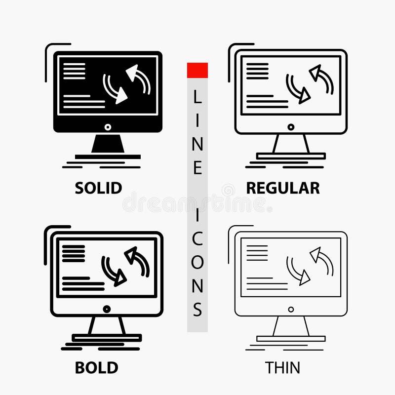 Synchronisierung, Synchronisierung, Informationen, Daten, Computer Ikone in der dünnen, regelmäßigen, mutigen Linie und in der Gl lizenzfreie abbildung