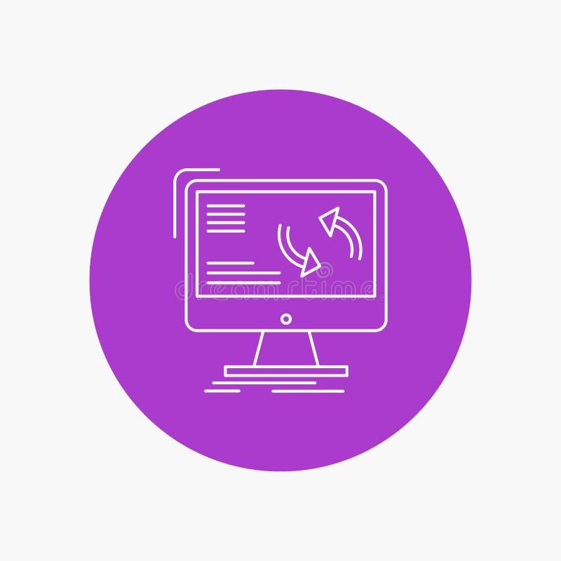 Synchronisierung, Synchronisierung, Informationen, Daten, Computer weiße Linie Ikone im Kreishintergrund Vektorikonenillustration vektor abbildung