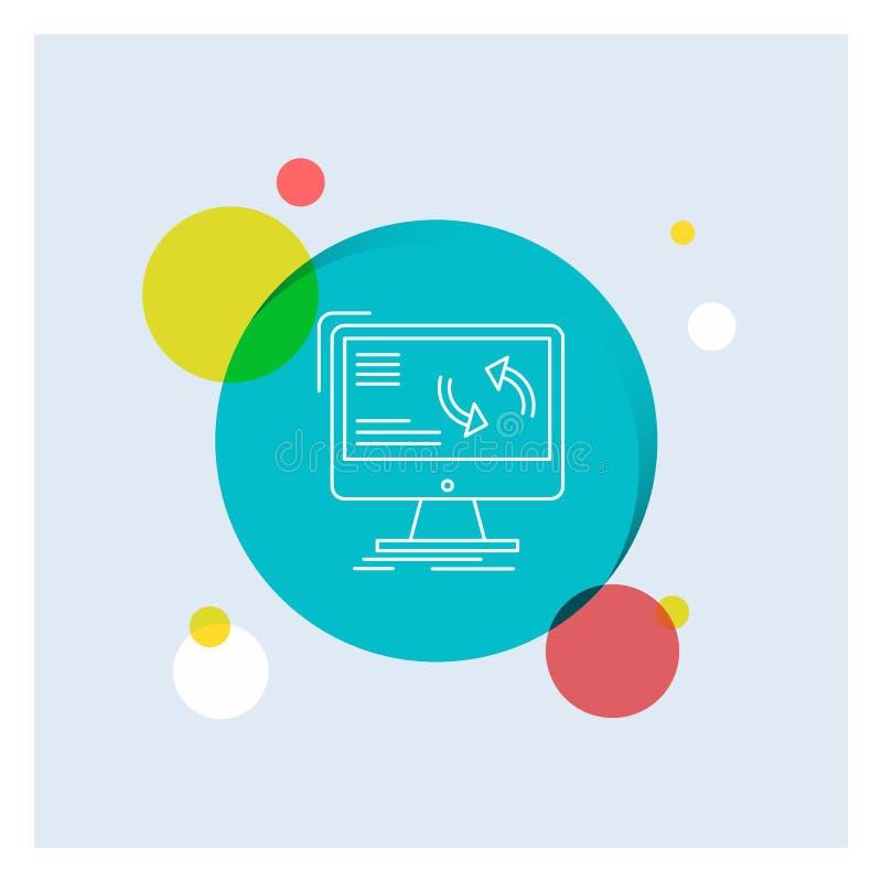 Synchronisierung, Synchronisierung, Informationen, Daten, Computer weiße Linie Ikonen-bunter Kreis-Hintergrund lizenzfreie abbildung