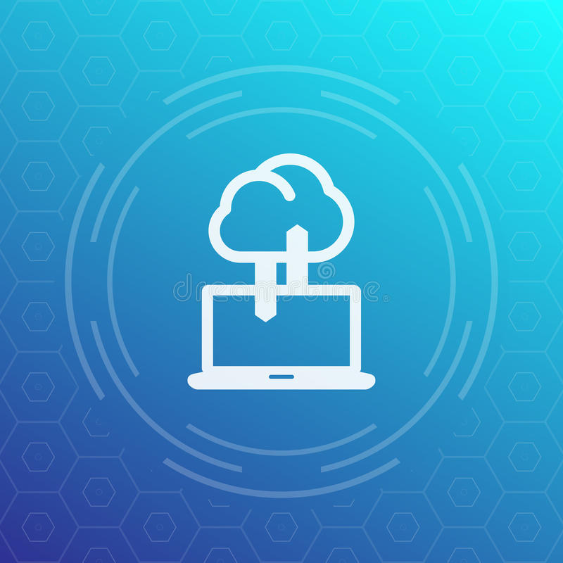 Synchronisierung mit Wolkenikone, Daten laden, Synchronisierung vektor abbildung