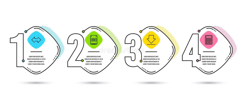 Synchronisierungs-, Downloading- und SSD-Ikonen Taschenrechnerzeichen Synchronisieren Sie, laden Sie Informationen, Festkörper-An stock abbildung