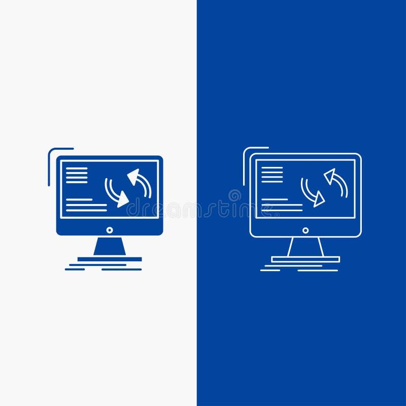 synchronizacja, synchronizacja, informacja, dane, sieć, komputerowej linii i glifu Zapinamy w Błękitnego koloru Pionowo sztandarz royalty ilustracja