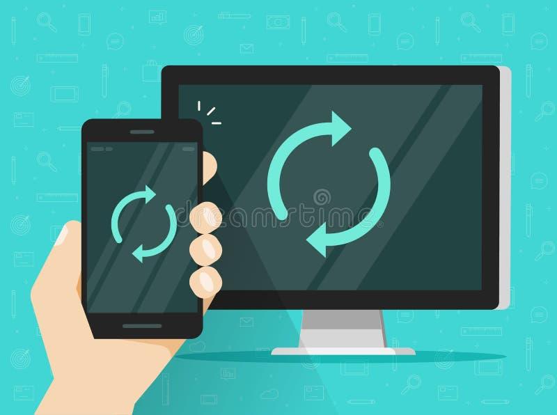 Synchronizacja wektorowa ilustracja, płaski kreskówka telefon komórkowy, komputer osobisty z synch ikoną dalej, i royalty ilustracja