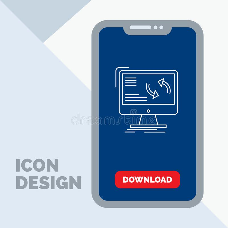Synchronization, sync, information, data, computer Line Icon in Mobile for Download Page. Vector EPS10 Abstract Template background stock illustration