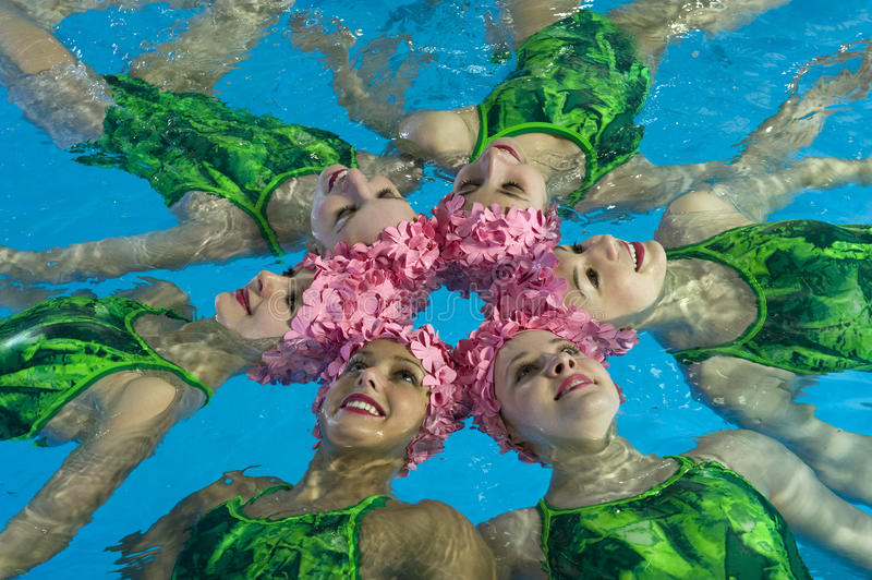 Synchronized swimmers stock images