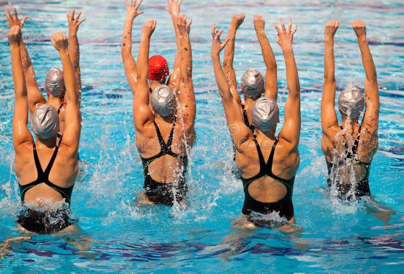 Synchronized swimming stock image