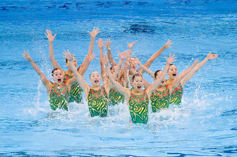 Synchronized swimming - Japan royalty free stock image