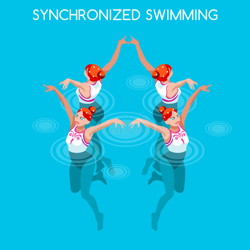 Olympic Synchronized Swimming Icon Set.3D Isometric Swimmer Team.Water Dance Swimming Sporting International Competition. Olympics Paralympics Game Rio Brasil stock illustration