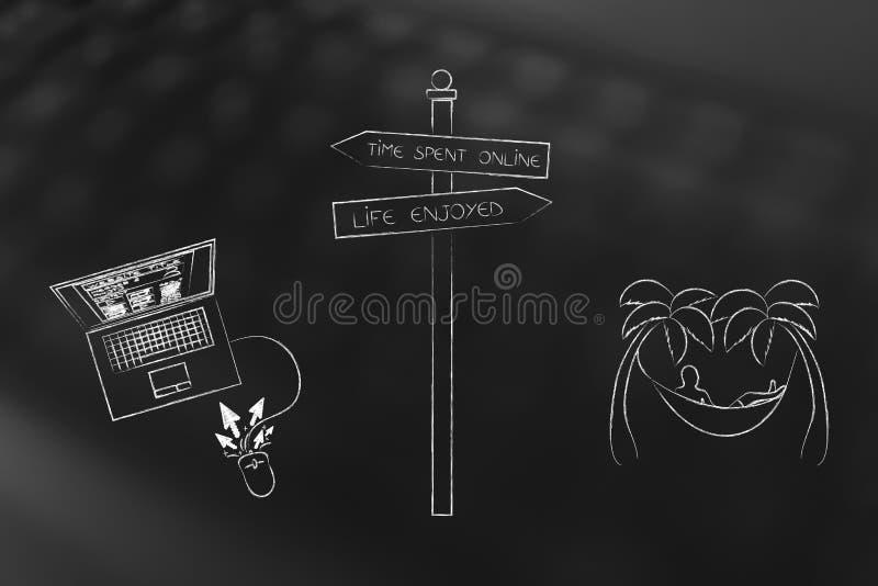 Synchronizuje online lub życie cieszący się drogowy znak z laptopem i mężczyzna na baleronie ilustracji