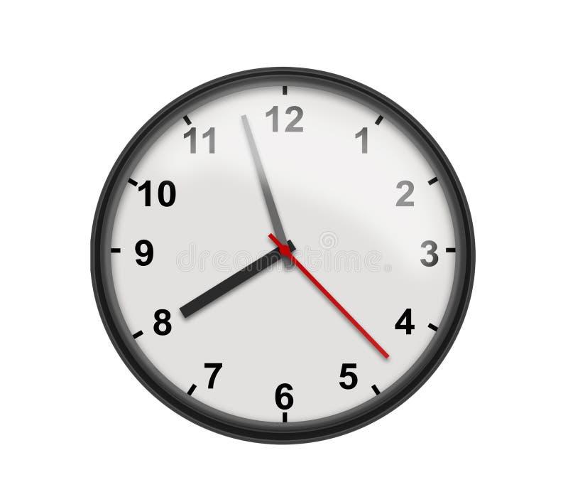 Synchronizuje pojęcie z zegarkiem lub zegarem na biel ścianie obrazy stock