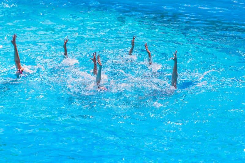 Synchronschwimmen Schöne magere weibliche Beine im Wasser eines Swimmingpools Schönheitsbegriff, Künstlertum lizenzfreies stockbild
