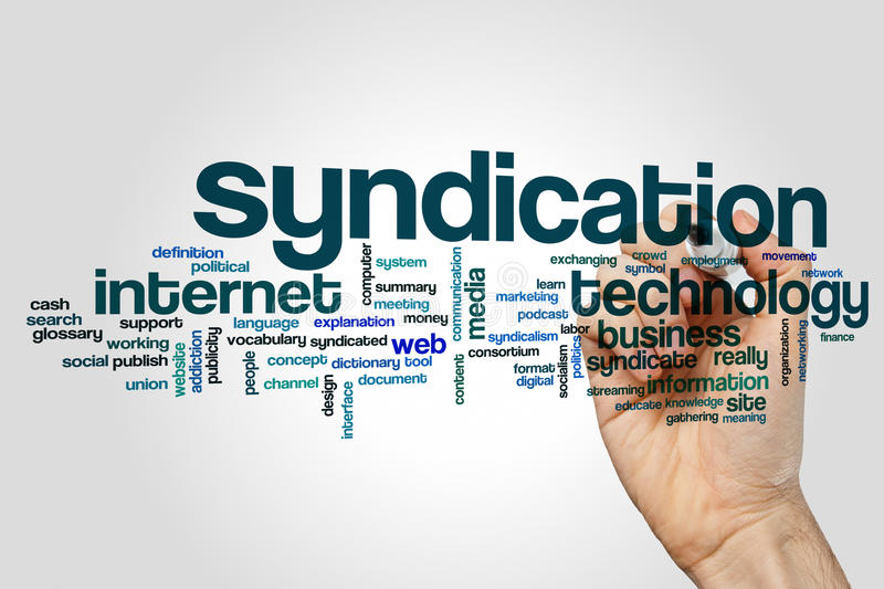 Syndication word cloud. Concept on grey background stock image
