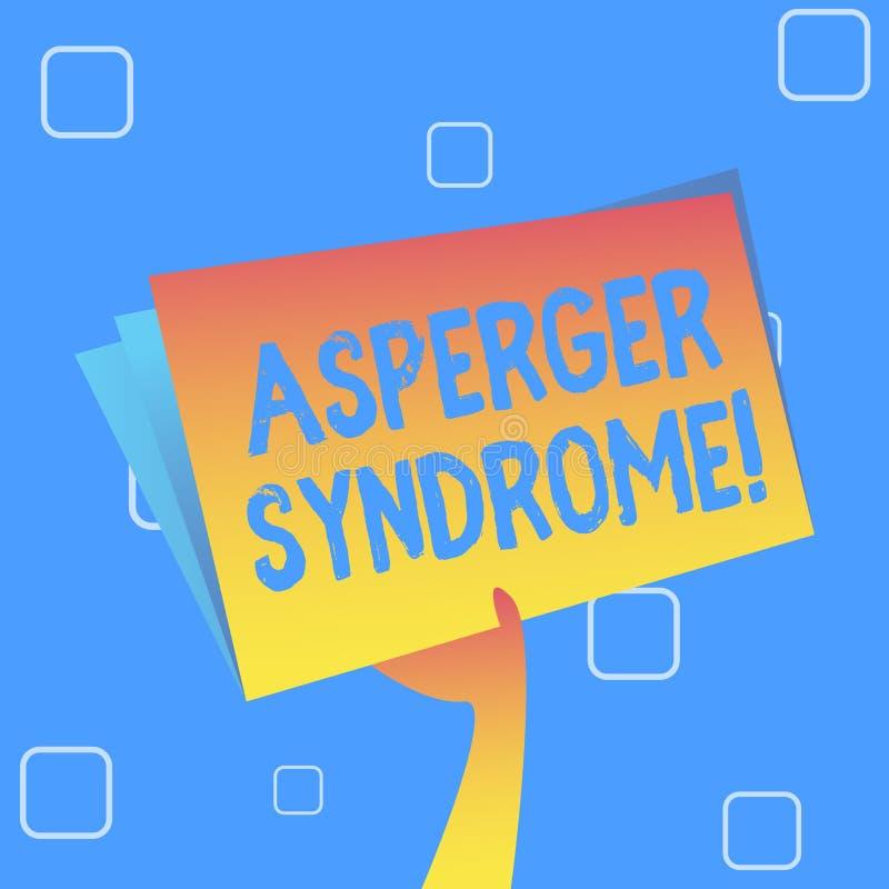Syndrome d'Asperger des textes d'écriture Signification de concept caractérisée comme exploitation distincte de main de désordre  illustration libre de droits