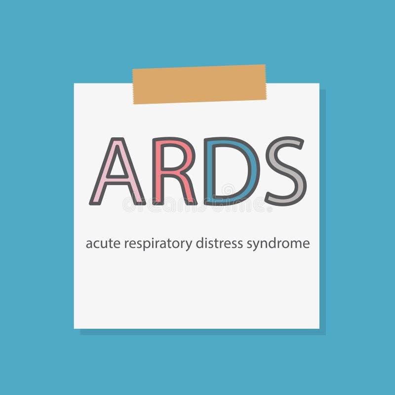 Syndrome de détresse respiratoire aigu d'ARDS écrit dans un papier de carnet illustration libre de droits