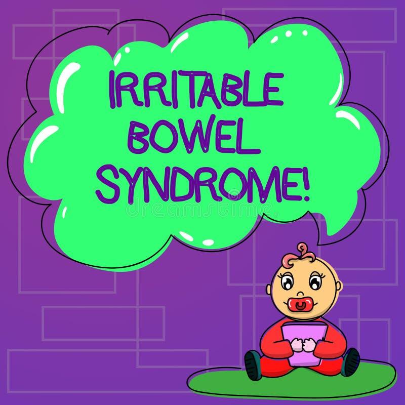 Syndrome du côlon irritable des textes d'écriture Concept signifiant le désordre faisant participer le bébé abdominal de douleur  illustration stock