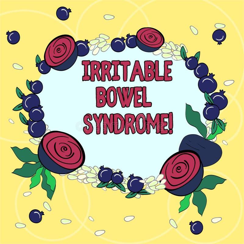 Syndrome du côlon irritable des textes d'écriture Le concept signifiant le désordre impliquant la guirlande florale abdominale de illustration libre de droits