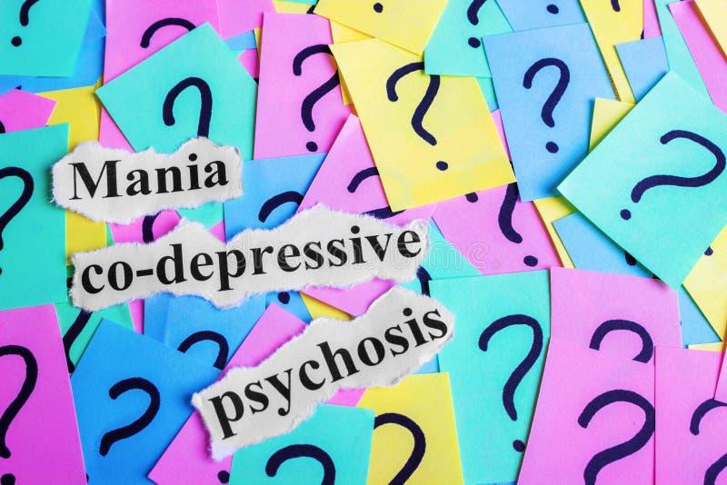 Syndromtext Psychose der Manie mit-deprimierender auf bunten klebrigen Anmerkungen vor dem hintergrund der Fragezeichen lizenzfreie stockfotografie