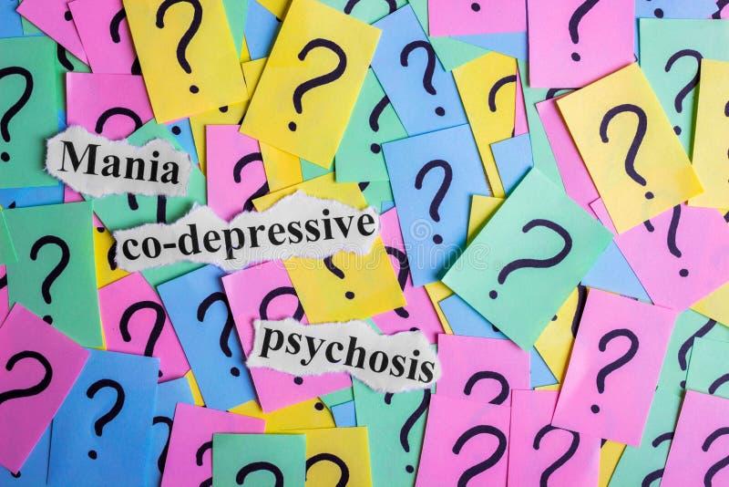 Syndromtext Psychose der Manie mit-deprimierender auf bunten klebrigen Anmerkungen vor dem hintergrund der Fragezeichen stockbilder