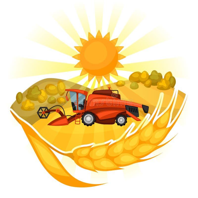 Syndykata żniwiarz na pszenicznym polu Rolniczego ilustraci gospodarstwa rolnego wiejski krajobraz ilustracji