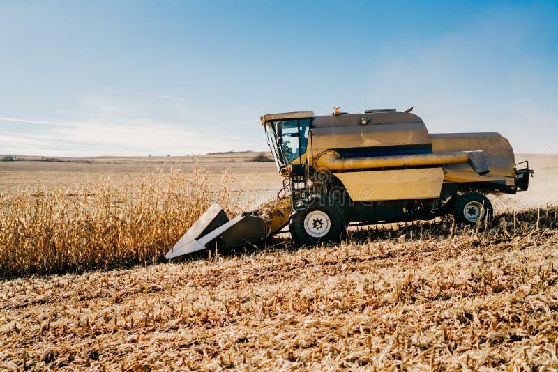 Syndykata żniwiarz pracuje w polach Rolnictwa Średniorolny działanie z maszynerią zdjęcia stock